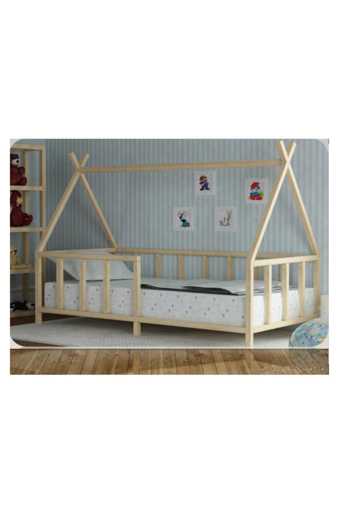 Baby Kinder Kızıldereli Doğal Montessori Bebek Çocuk Karyolası 1