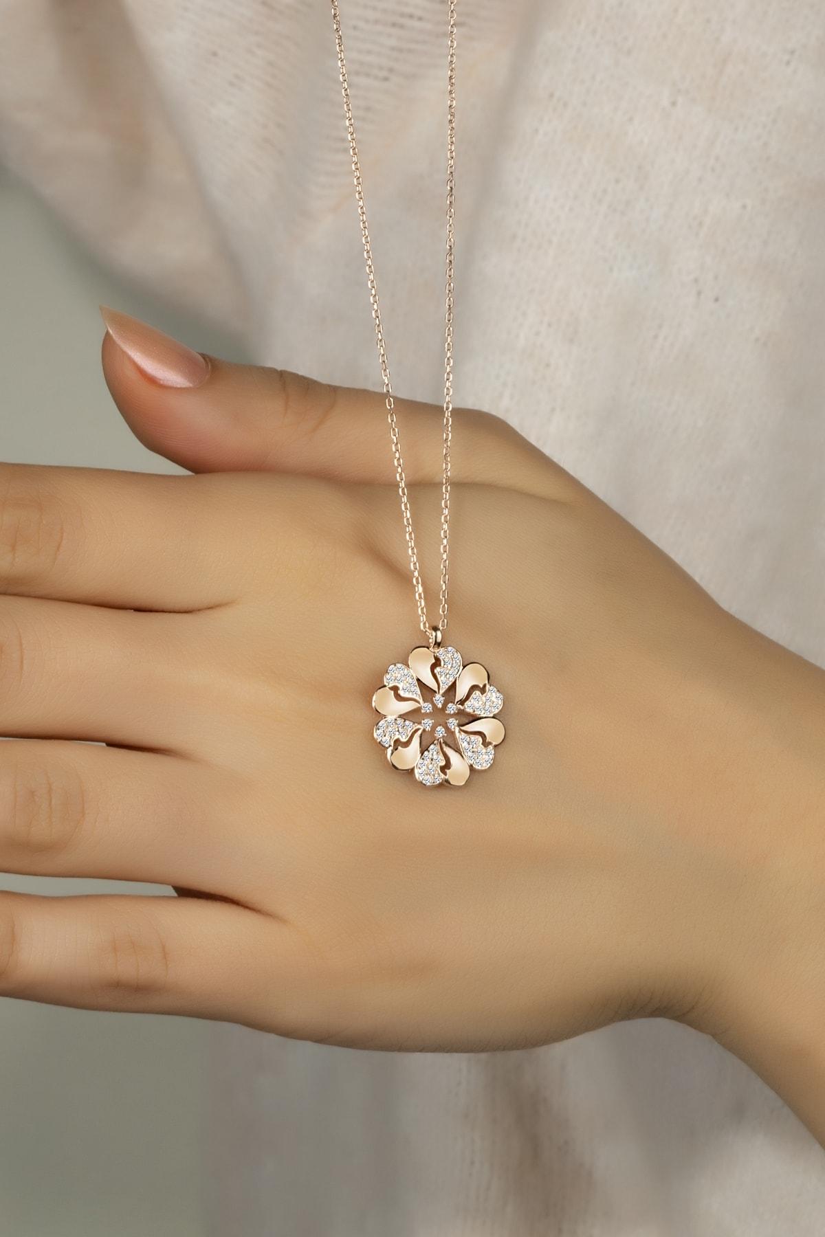 Else Silver Kadın Kalp Çiçeği Gümüş Kolye 1