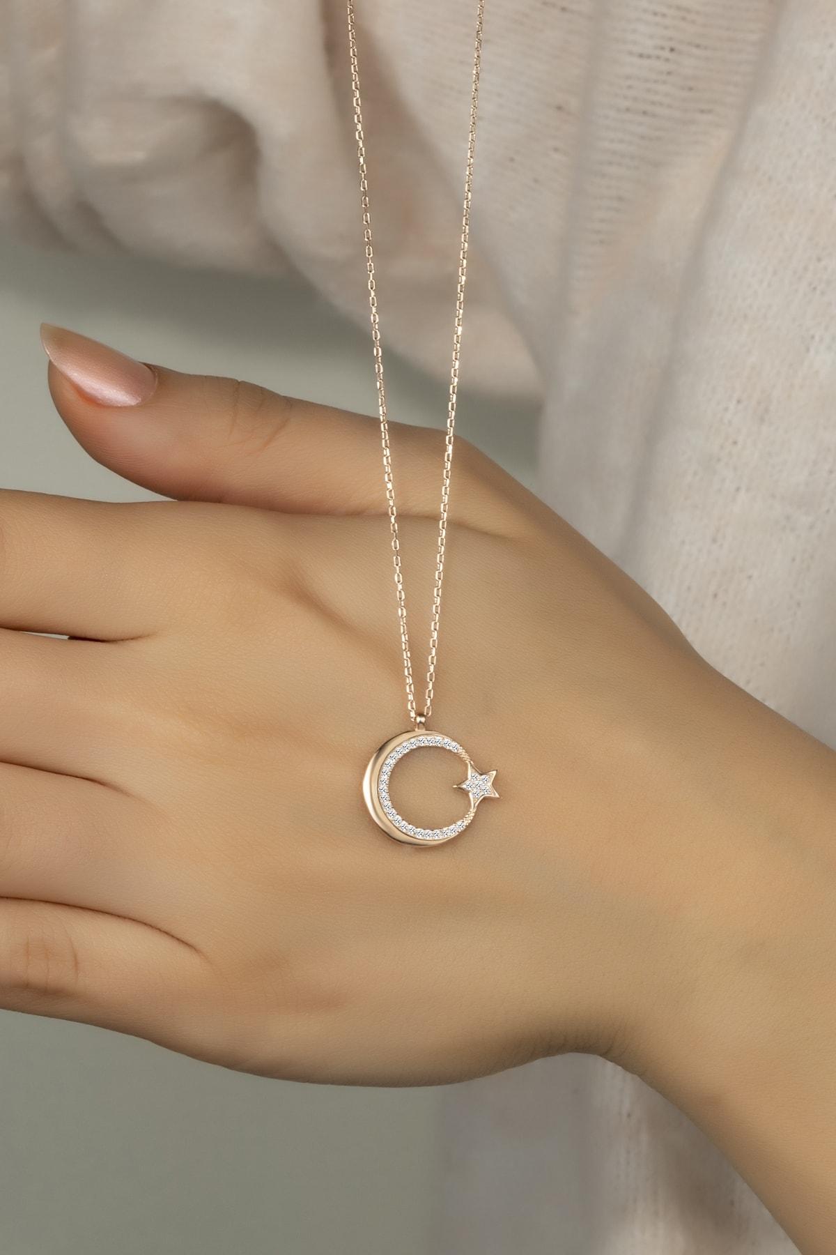 Else Silver Pırlanta Modeli Gümüş Ay Yıldız Kolye 1
