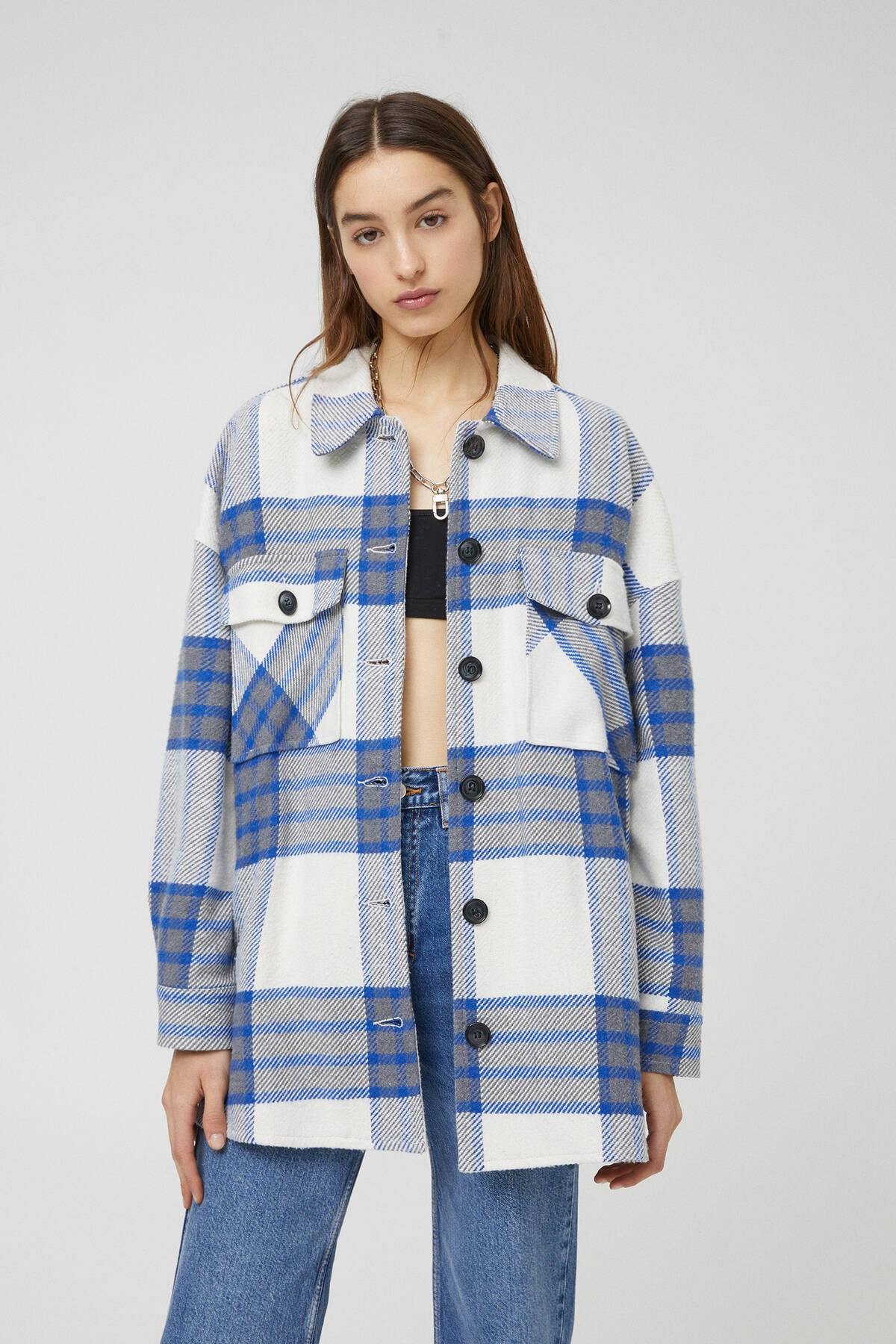 Pull & Bear Kadın Mavi Kareli Ince Ceket 1