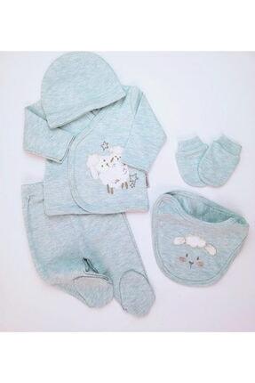 Ciccim Baby Erkek Bebek Su Yeşili Kuzu 5'li Zıbın Set