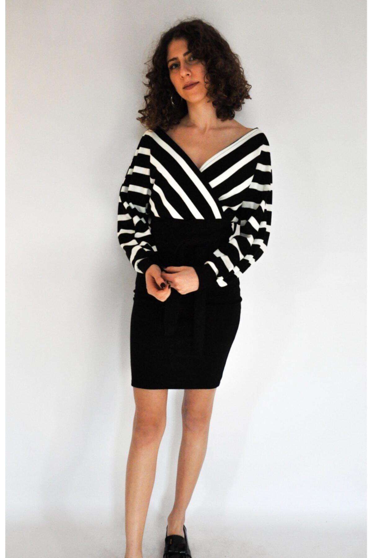Thrill Kadın Siyah Etek Kısmı Yaka Çizgili Triko Elbise 1