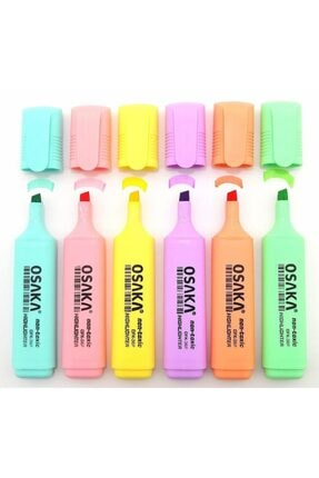 Osaka Pastel Renk Fosforlu Kalem 6'lı Set