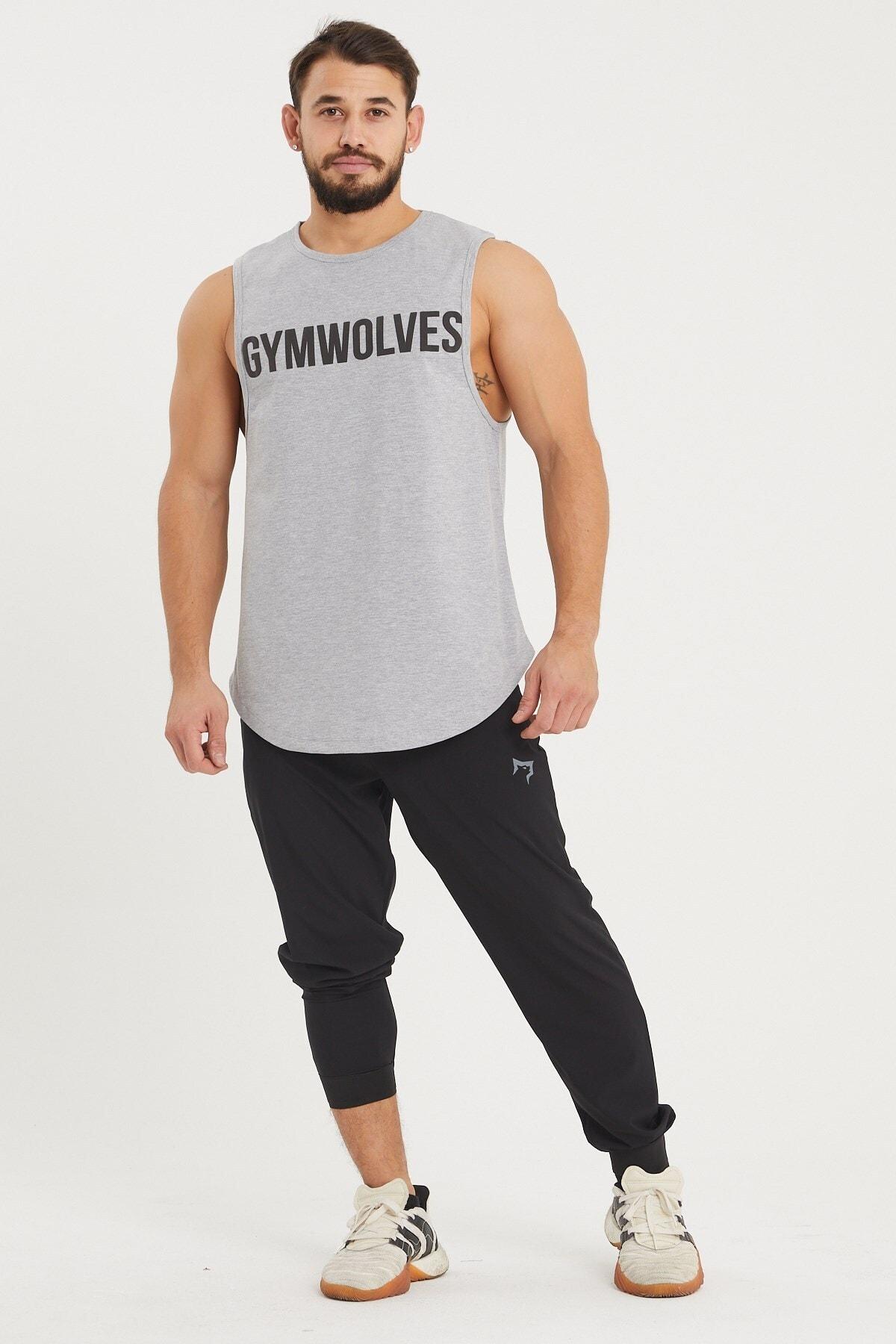Gymwolves Erkek Kolsuz T-shirt | Gri | Erkek Spor T-shirt | Workout Tanktop | 2