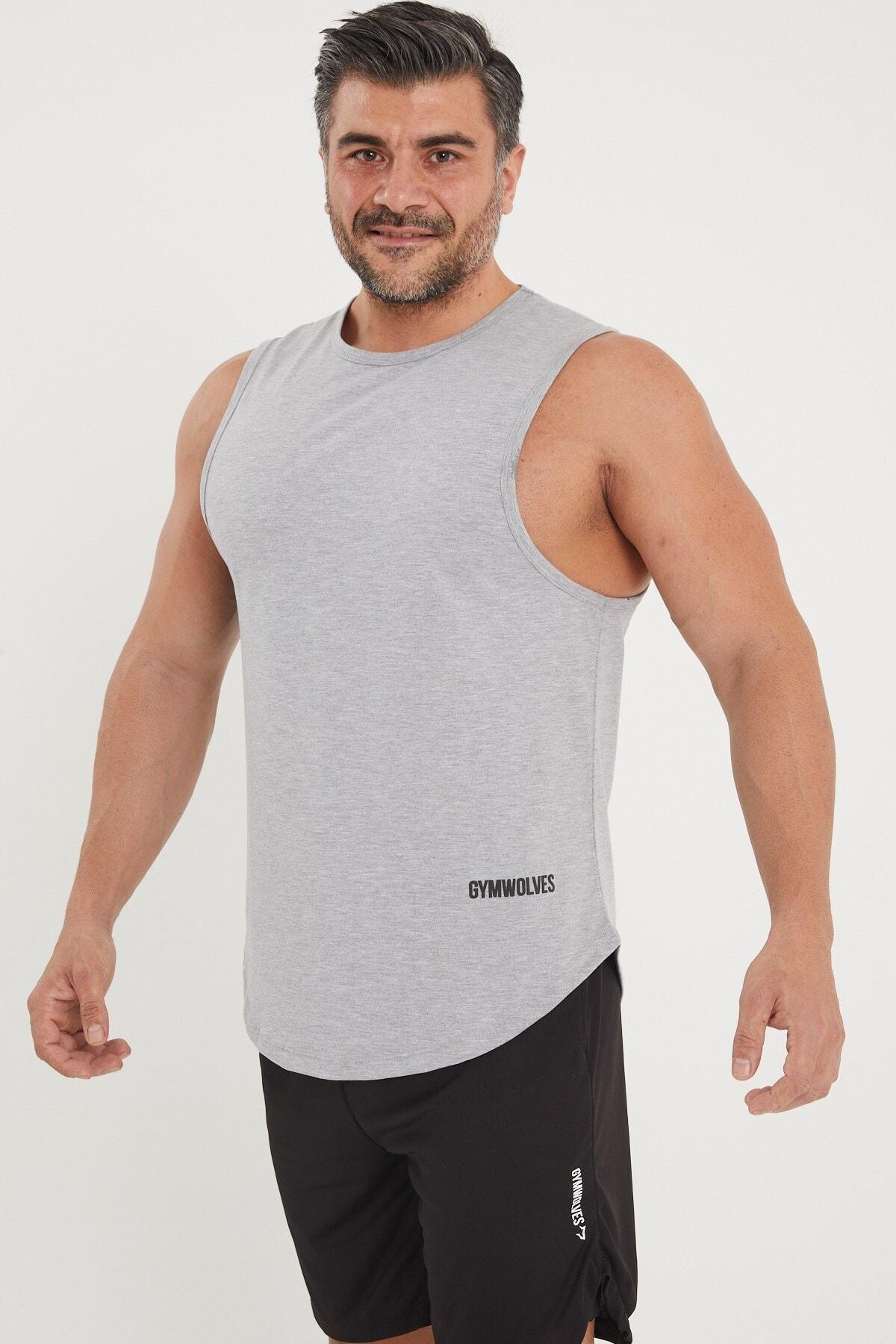Gymwolves Erkek Kolsuz T-shirt | Gri | Erkek Spor T-shirt | Workout Tanktop | 1