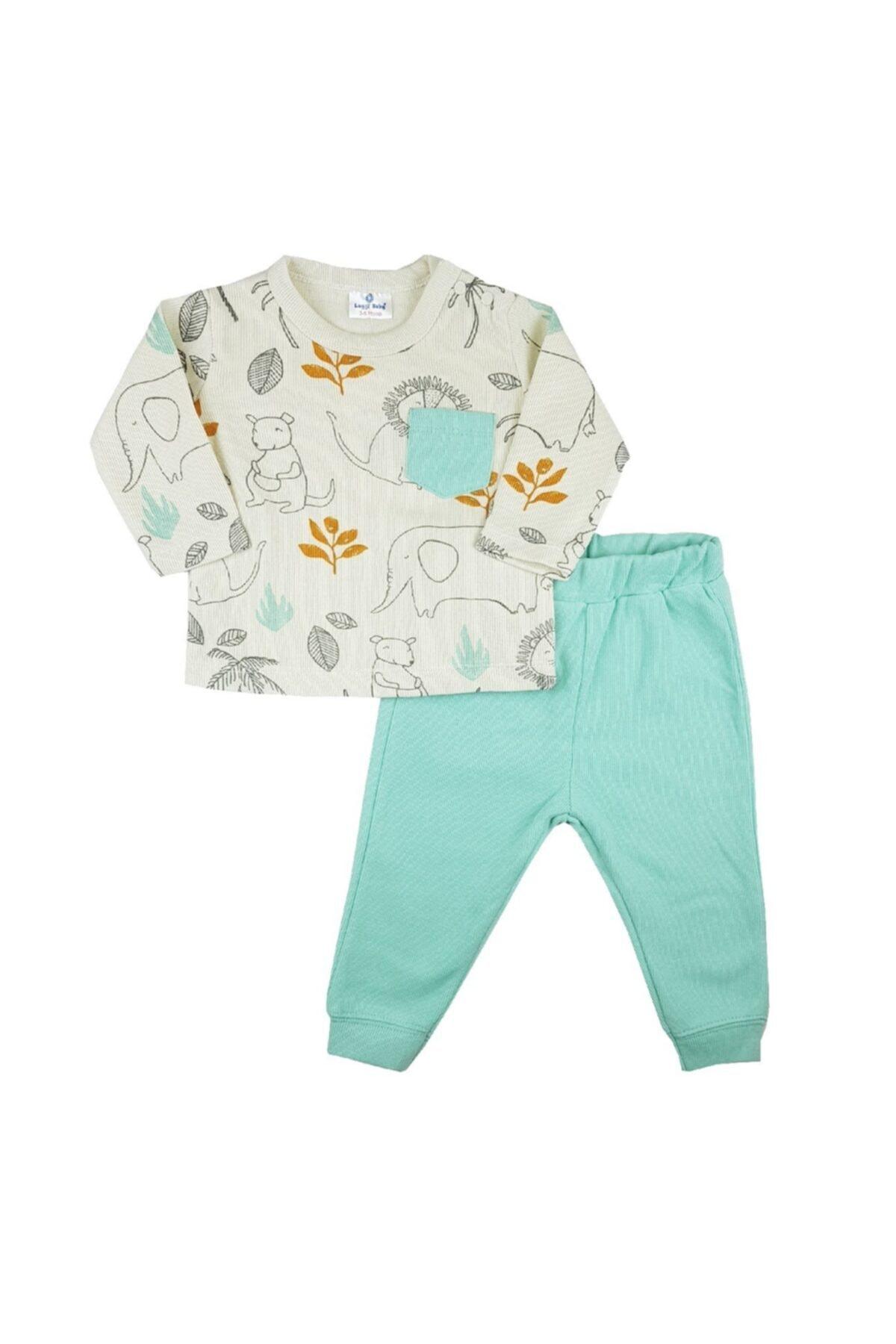 Luggi Baby Selanik Kumaş Animals Desenli Takım 1