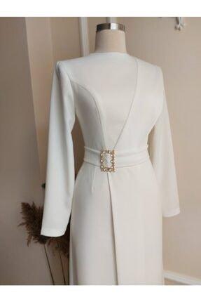 Elif Şahin Tasarım Kadın Kırık Beyaz Kruvaze Elbise