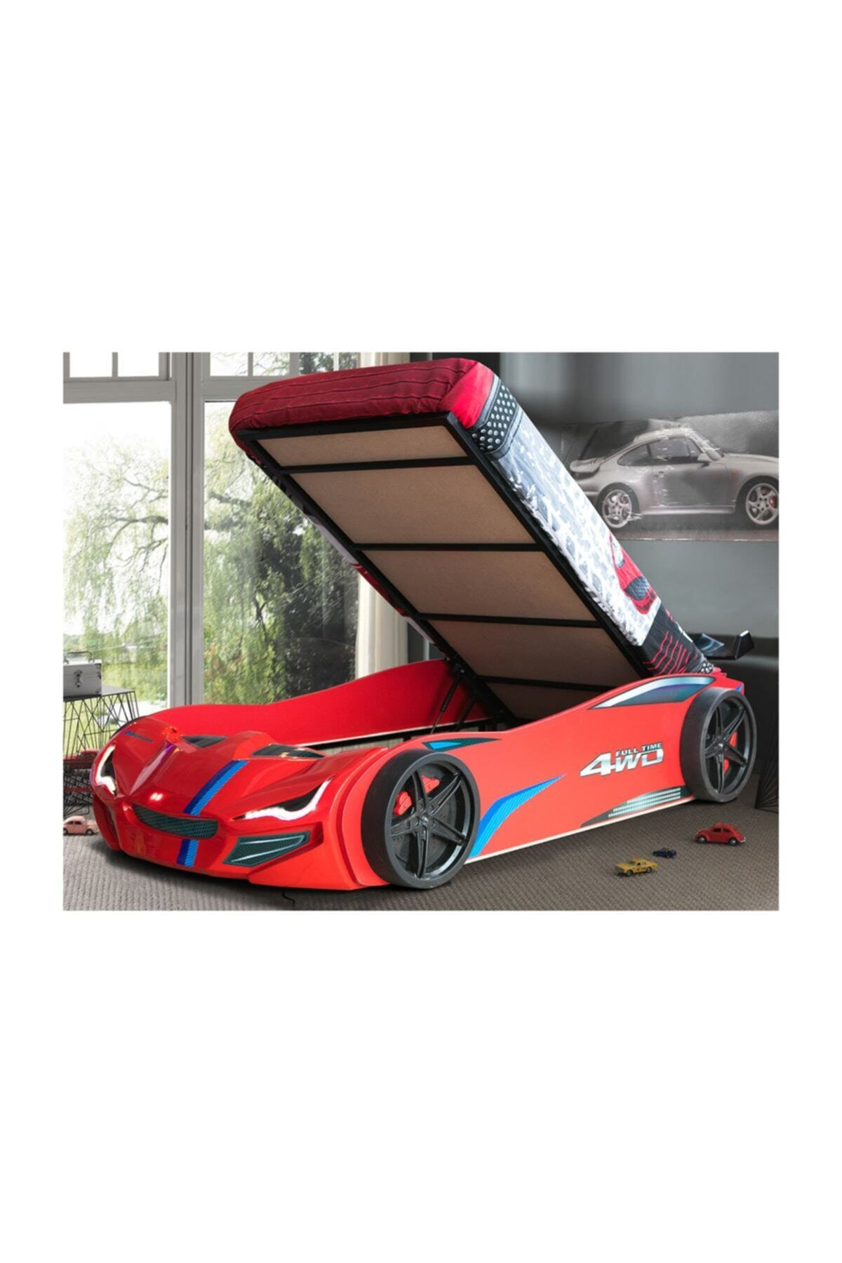Setay Merso Eko Bazalı Rüzgarlıklı Arabalı Yatak Kırmızı Ortopedik Yatak Nevresim 1