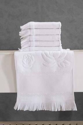 Fiesta 6 Adet 30x50 Etamın Jakarlı Sacaklı Beyaz Mutfak Havlusu Kanavice Işlemelik