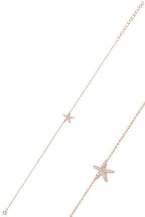 Söğütlü Silver Gümüş Rose Zirkon Taşlı Deniz Yıldızı Bileklik