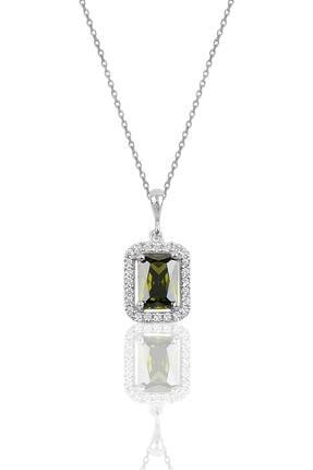 Söğütlü Silver Gümüş Columbia Zümrüt Baget Taşlı Kolye
