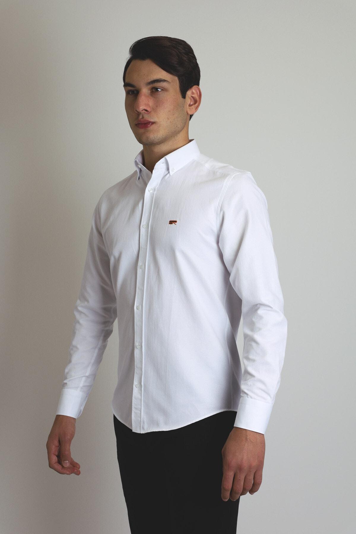 BEARRAYBON Erkek Beyaz Slim Fit Gömlek 2