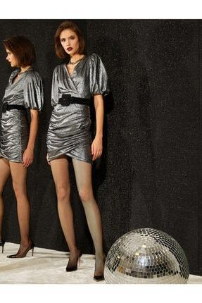 Koton Kadın Metalik Elbise Abiye Kisa Kollu Büzgülü
