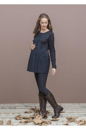 Even Fashion Hamile Giyim Kadın Lacivert  Cep Detaylı Uzun Kollu Hamile Bluz