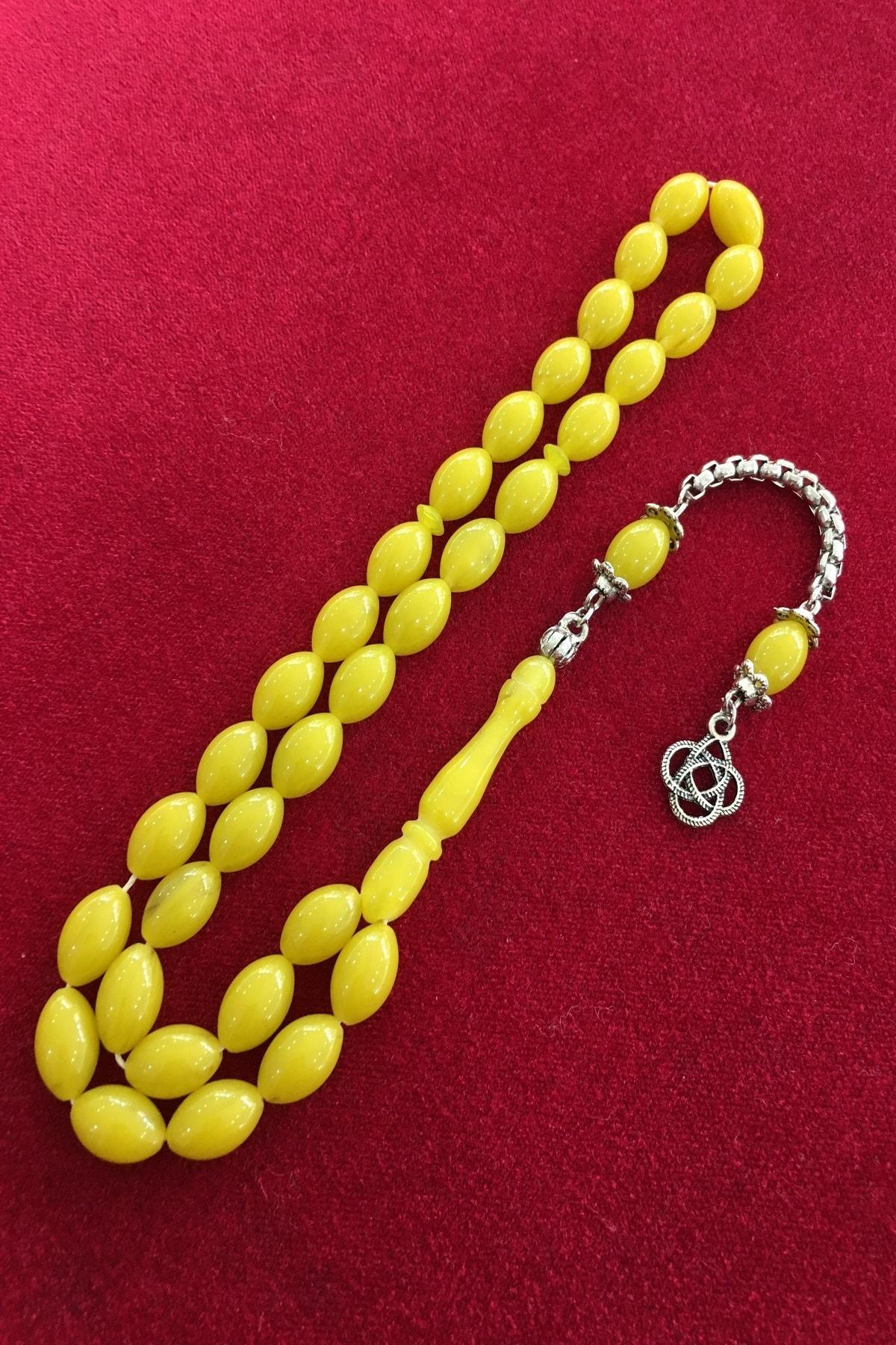 Midyat Azra Telkari Erkek Limon Sarısı Toz Kehribar Tesbih 2