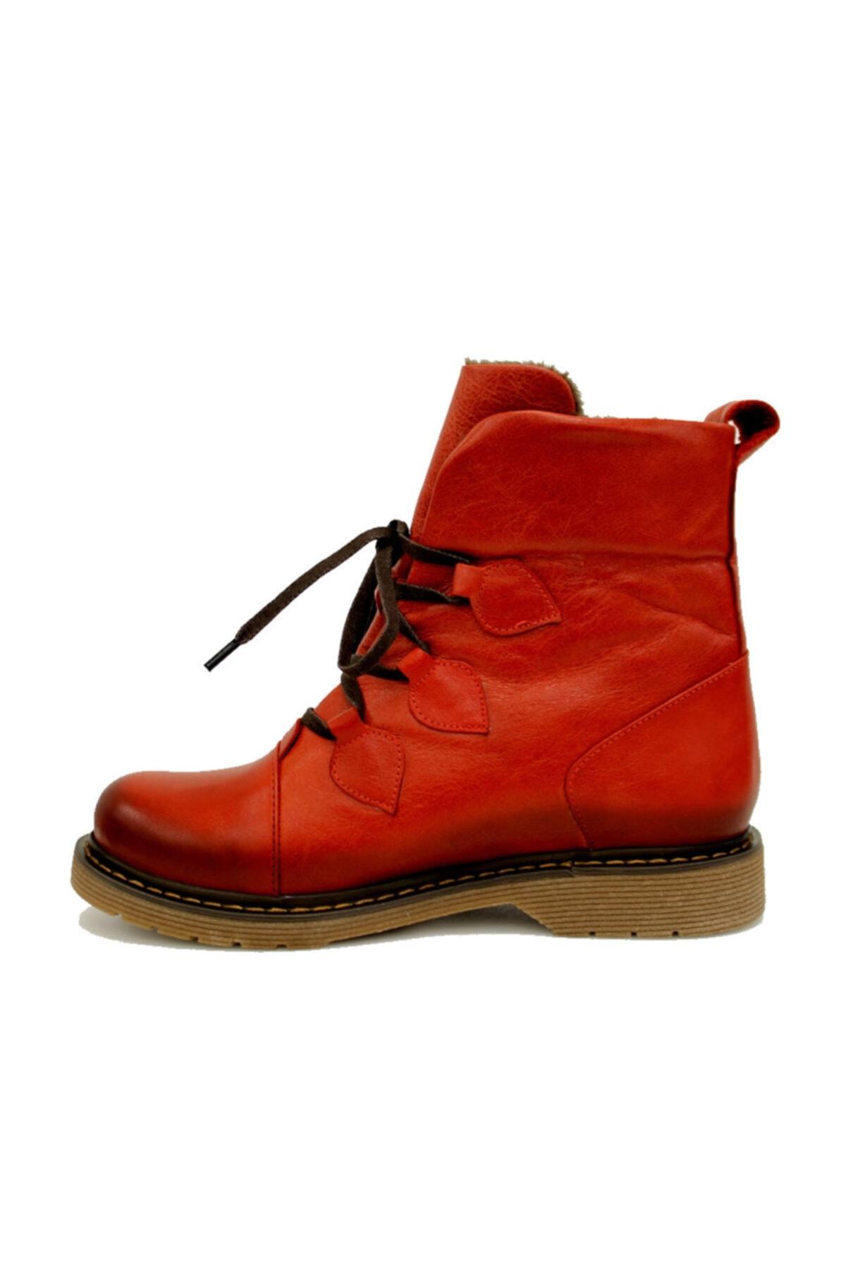 Beta Shoes Hakiki Deri Kadın Bot Kırmızı 2