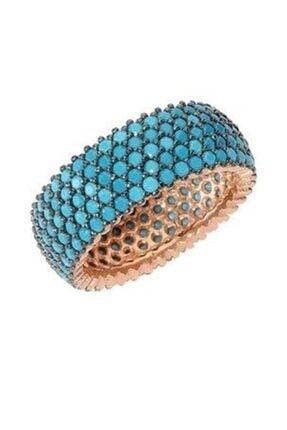 Söğütlü Silver Nano Turkuaz Taşlı Tamtur Yüzük