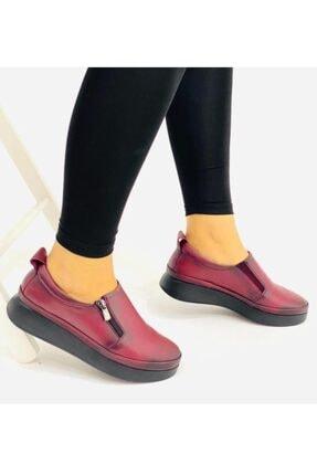 RİKEL DERİ Kadın Bordo Hakiki Deri Günlük Ayakkabı
