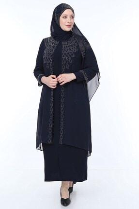 PERYA Kadın Taş ve Boncuk İşlemeli Şifon Abiye Elbise Lacivert Taş İşlemeli Şal