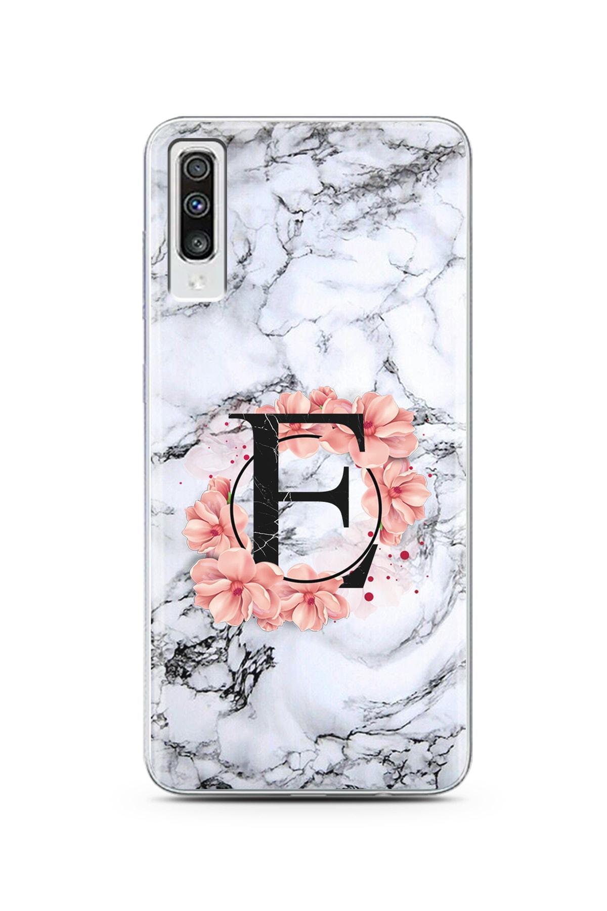Spoyi Samsung A70 Mermer Çiçekli E Harf Tasarım Süper Şeffaf Silikon Telefon Kılıfı 1