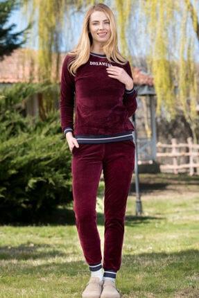 Yeni İnci Manşetli Kadın Kadife Pijama Takım