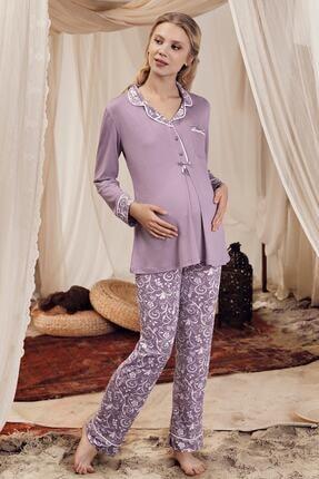 Artış Kadın Mor Desenli Pamuklu Viskon Lohusa Pijama Takım 8220-2