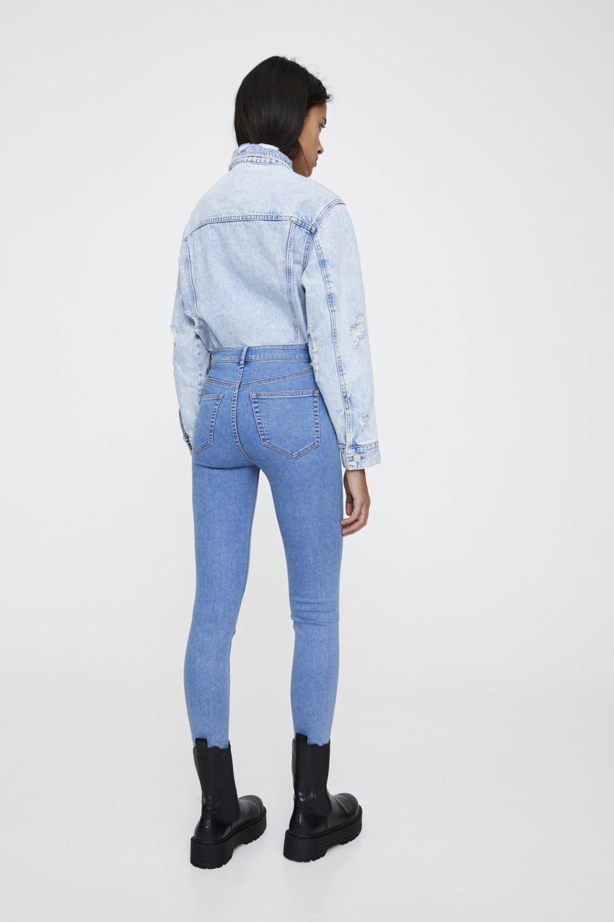 Pull & Bear Kadın Soluk Mavi Yüksek Bel Skinny Jean 09684309 2