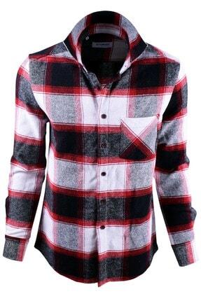 Ottomoda Beyaz Siyah Kırmızı Ekose Desenli Oduncu Gömlek