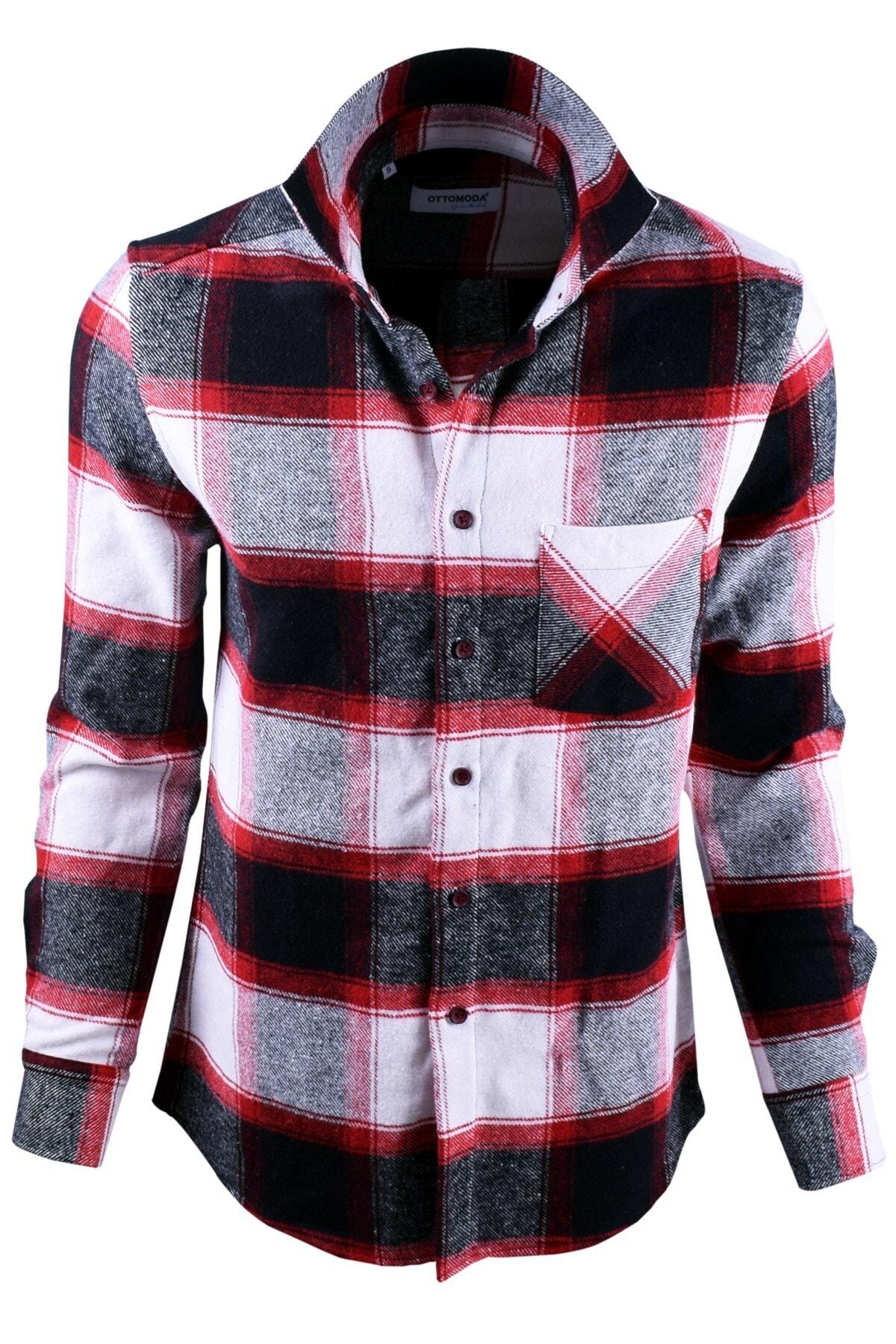 Ottomoda Beyaz Siyah Kırmızı Ekose Desenli Oduncu Gömlek 1