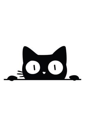 Dijitalya Bagajdan Bakan Kedi Sticker | Etiket | Siyah