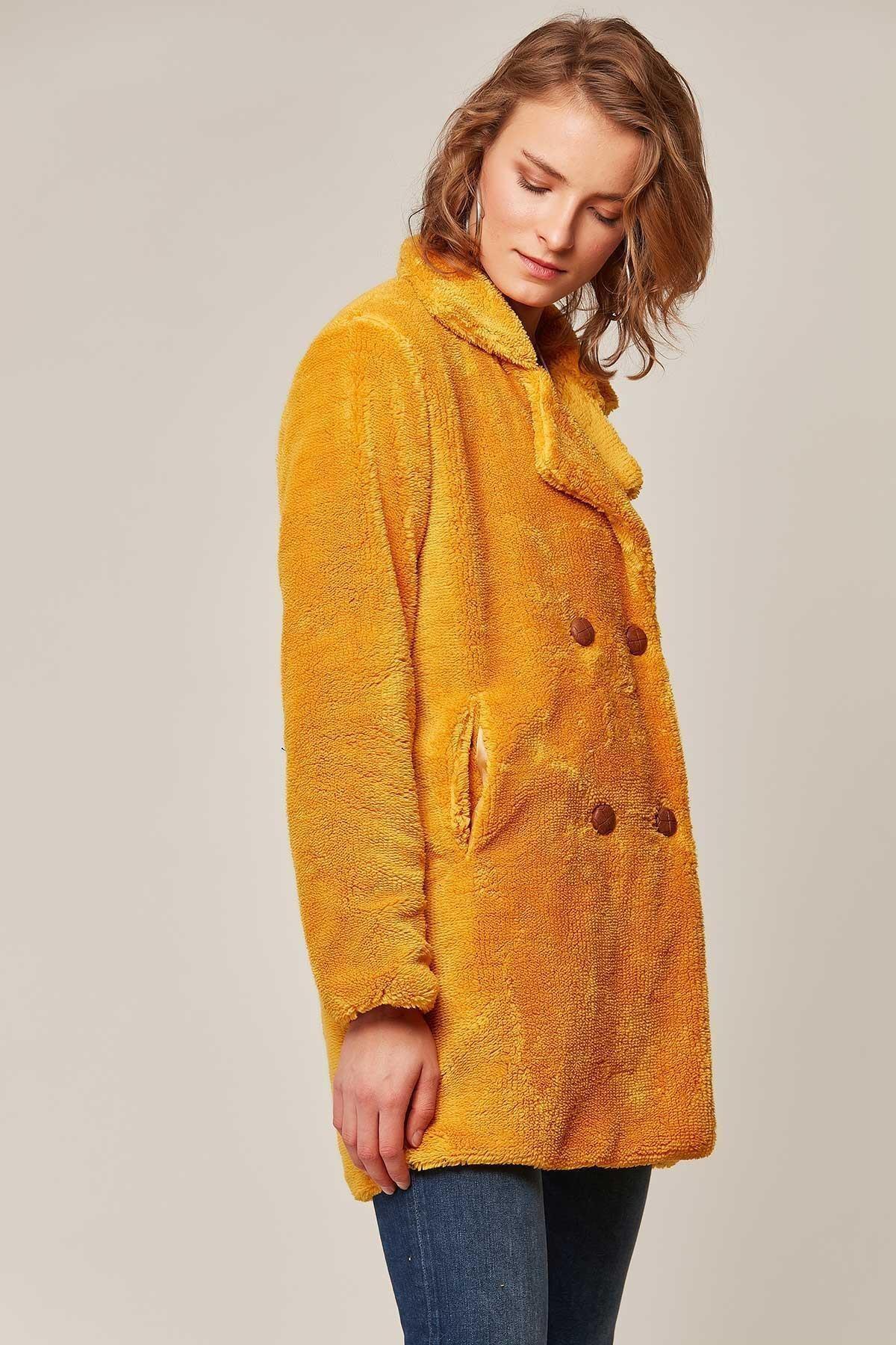 Y-London Kadın Kruvaze Yaka Cepli Peluş Kuzu Ceket 10419 2