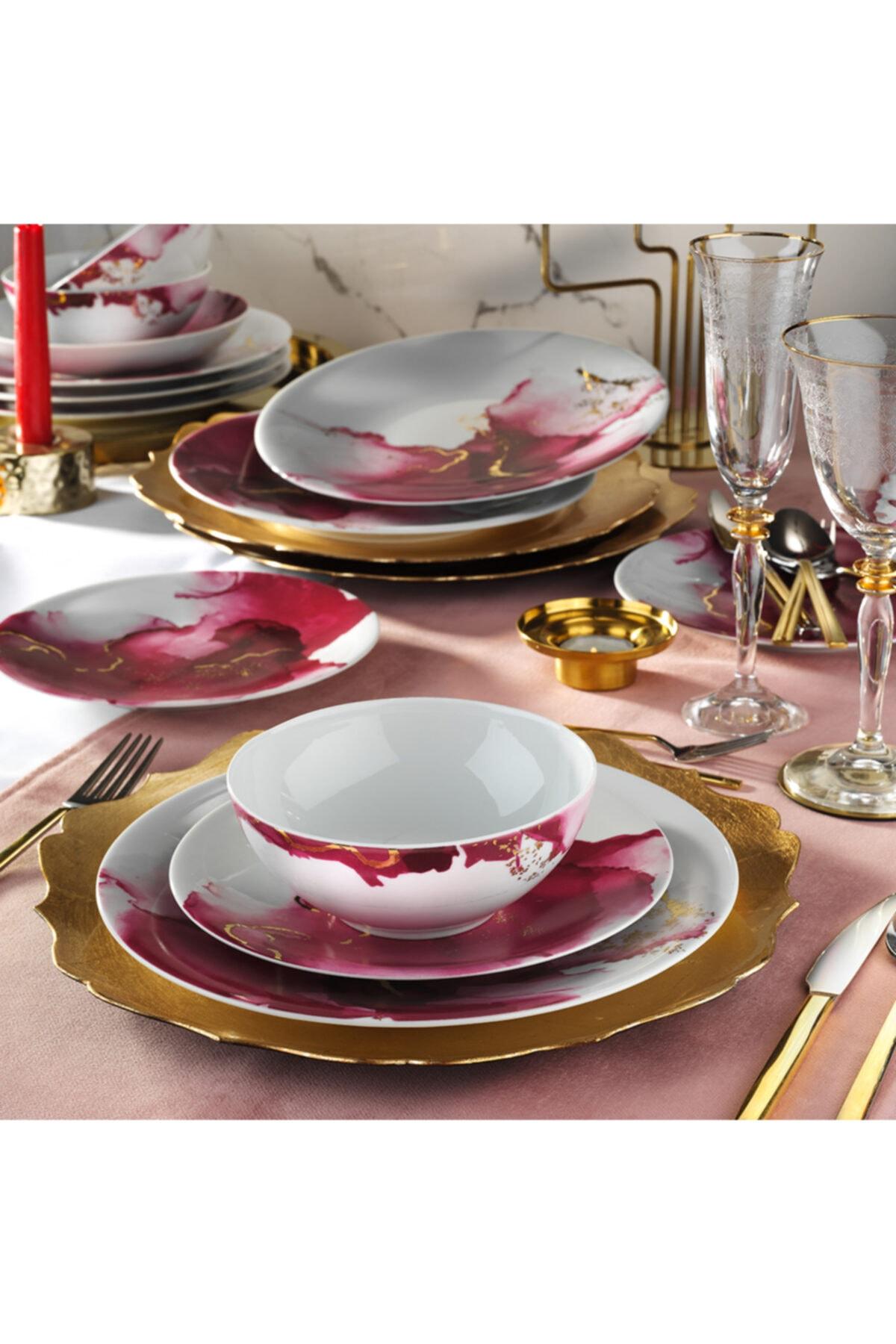 Kütahya Porselen 24 Parça Altın Varaklı Dekoratif Yemek Takımı 2