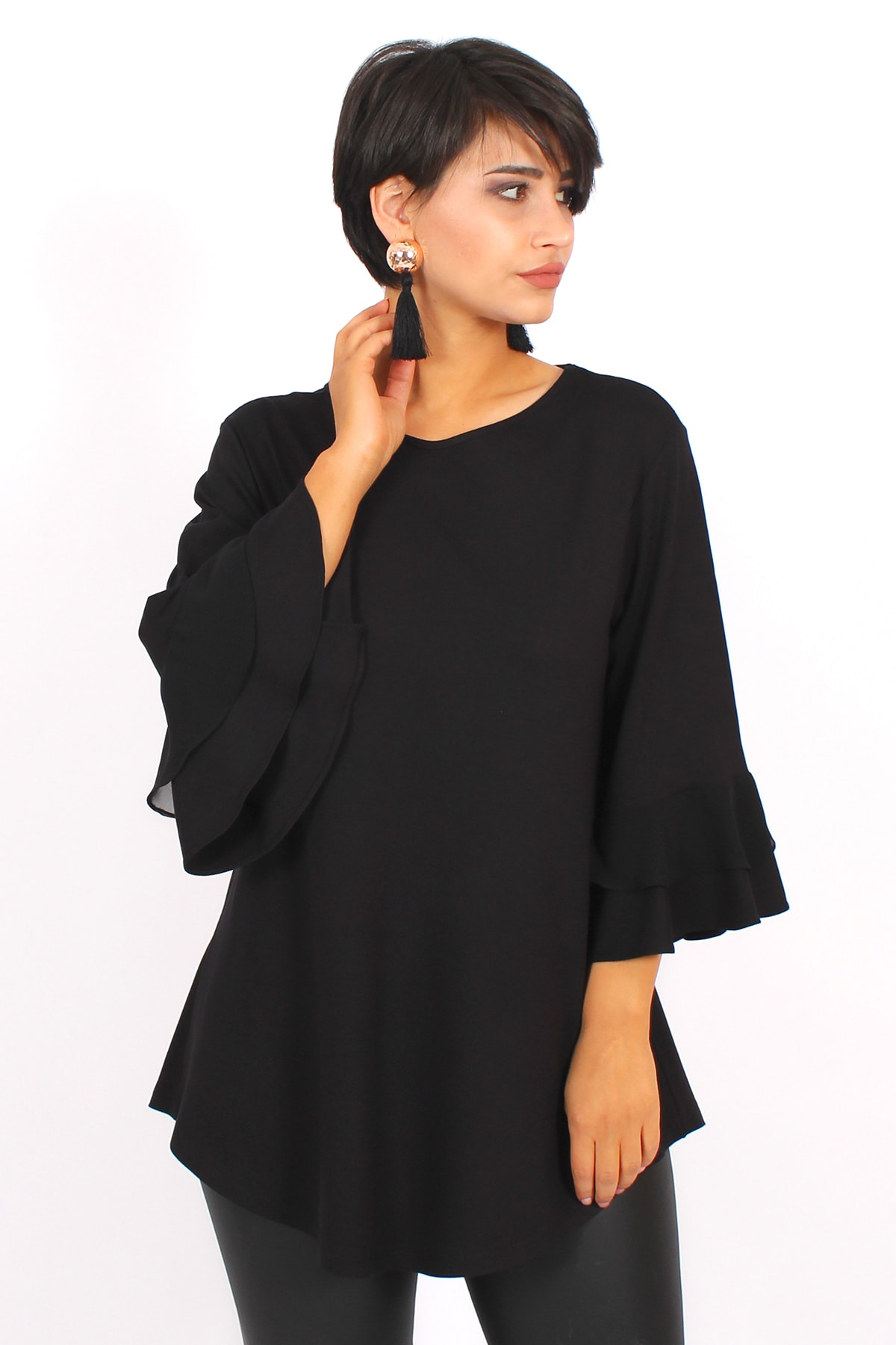Melisita Kadın Siyah  Büyük Beden Volanlı Bluz 1