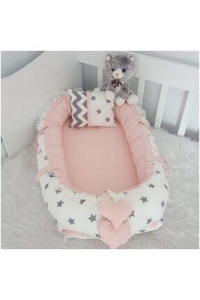 Jaju Baby Nest Beyaz Yıldız Pudra Kombin Lüx Babynest