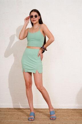 Eka Kadın Yeşil Beli Lastikli Fitilli Mini Etek