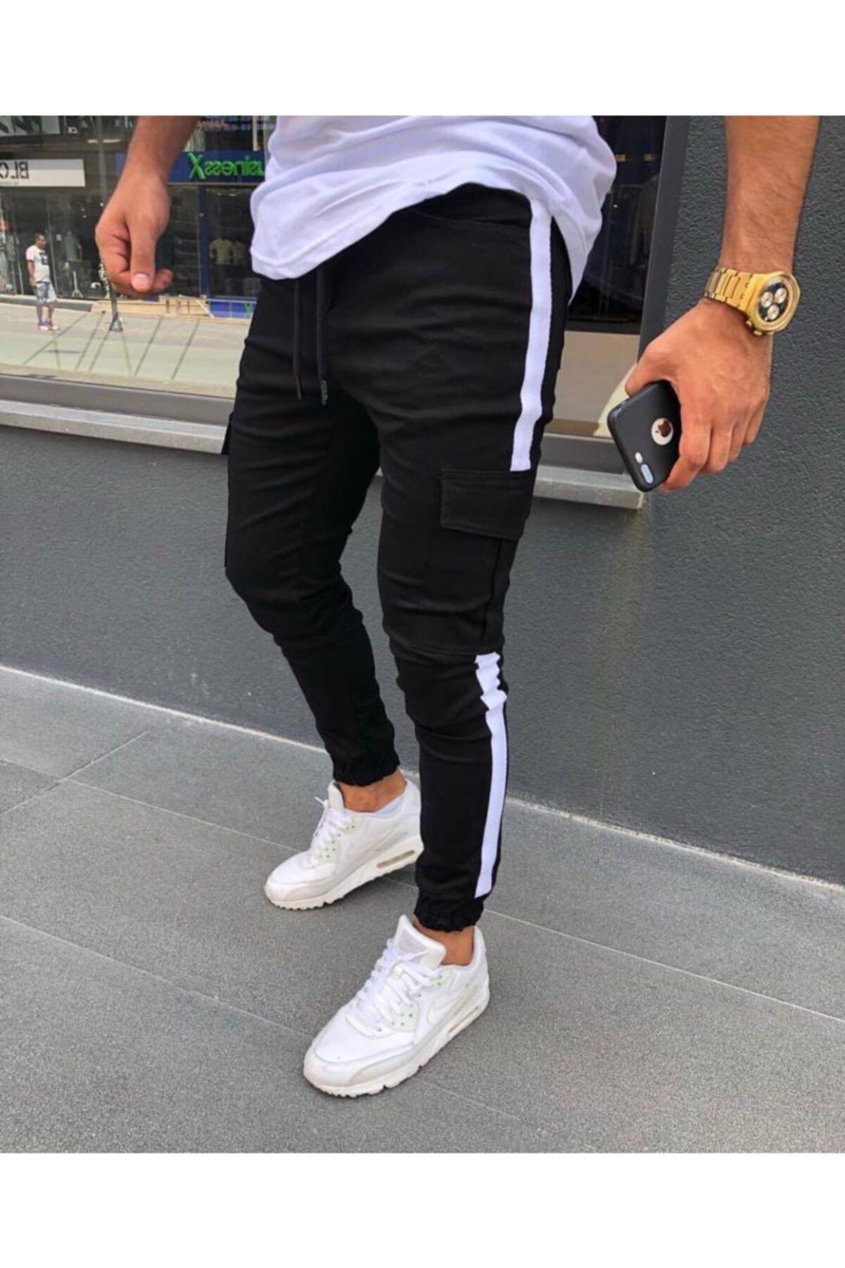 ukdwear Erkek Siyah Yandan Çizgili Kargo Pantolon 1