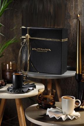 Kütahya Porselen Adora Kahve Takımı Siyah & Krem
