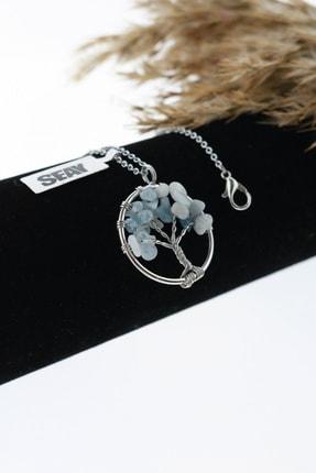 Seay Doğal Taş Akuamarin Hayat Ağacı Bayan Kolye Ucu (60cm Zincir Dahil)
