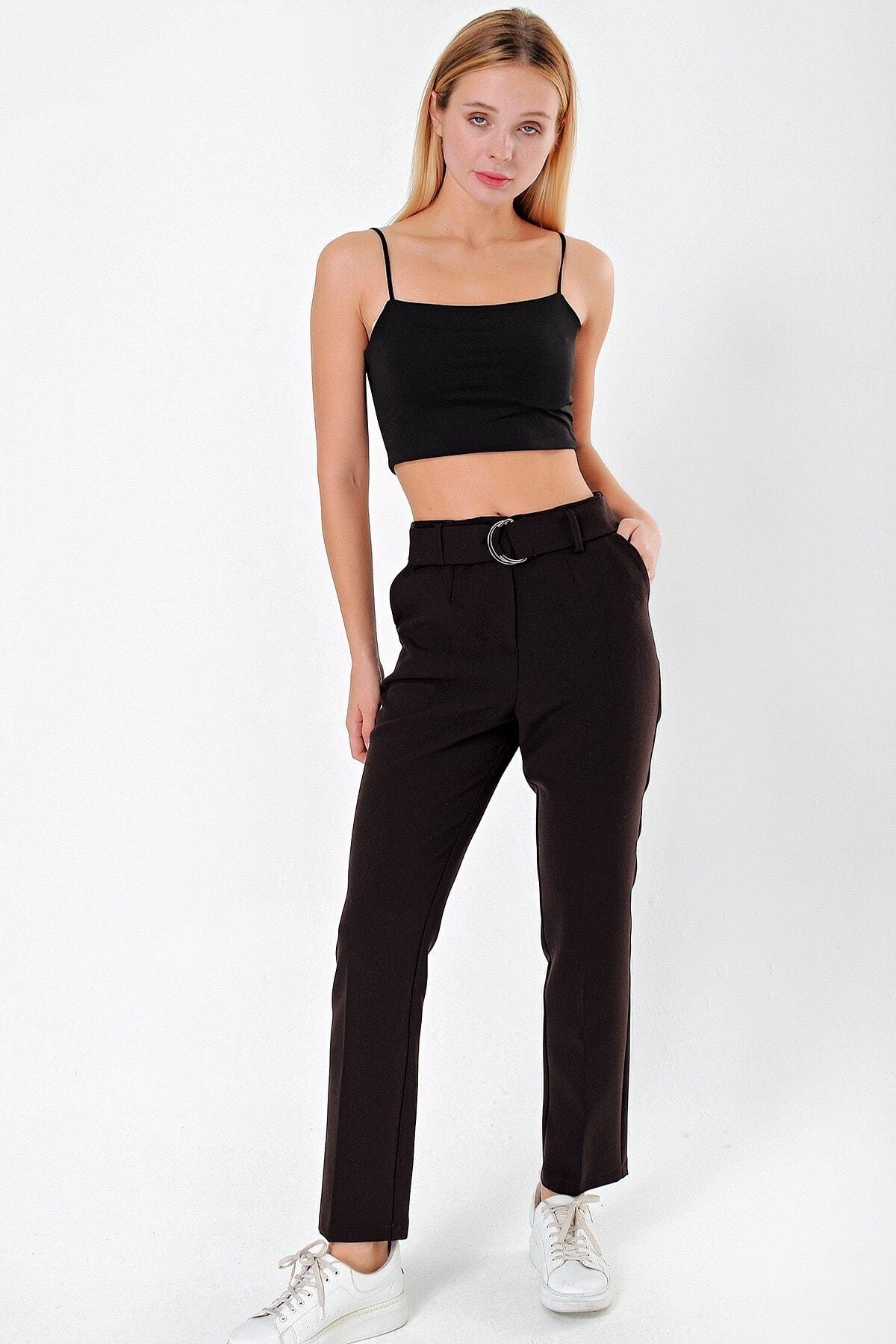 Jument Kadın Kahverengi Yüksek Bel Cepli Kemerli Boyfriend Ofis Kumaş Pantolon 1
