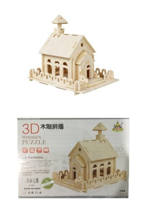 PİRAMİGO Boyanabilir 3d Ahşap Maket Küçük Kilise Binası Church