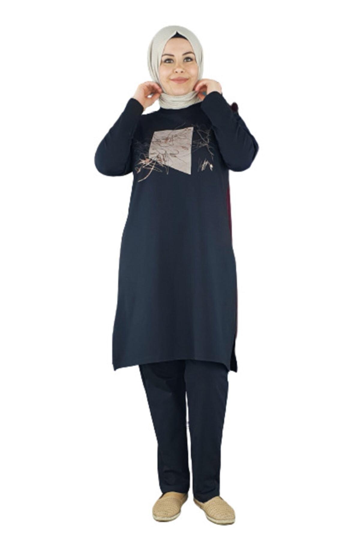 PYS Giyim Kadın Siyah Önü Baskılı Tesettür Takım 6303-50 1