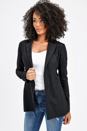 Jument Kadın Siyah Yakalı Flato Cepli Uzun Kol Kopçalı Ofis Şık Ceket 37009