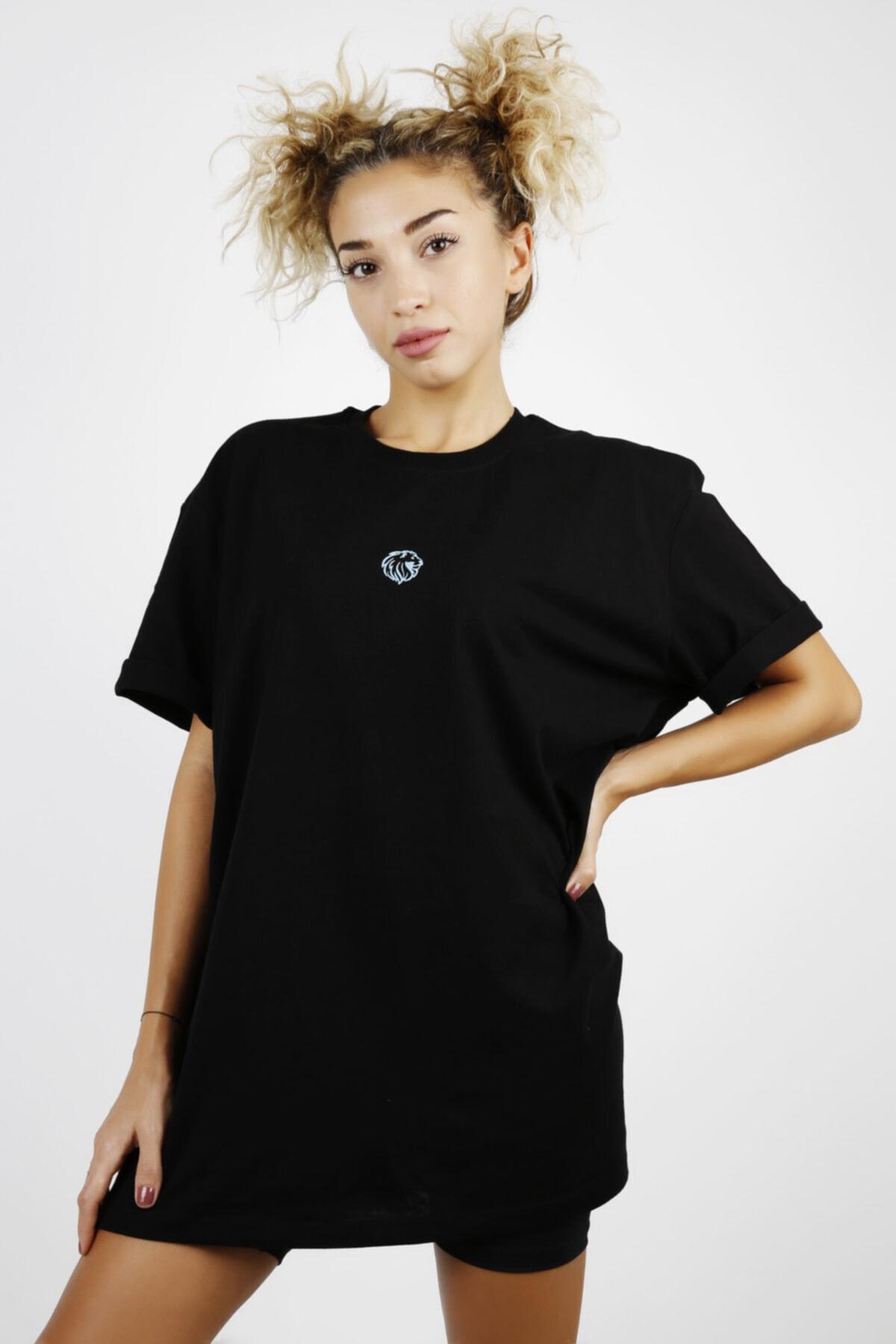 JANQ LIONA Kadın Siyah Fosfor Çivi Baskılı T-Shirt 1