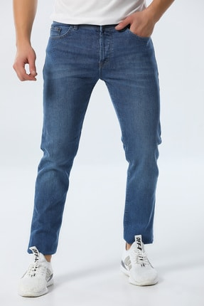 jocuss Erkek Mavi Slim Fit Likralı Pantolon