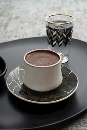 ACAR Siyah Isabella Porselen 6'lı Kahve Fincan Seti