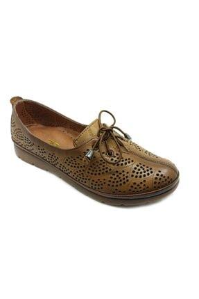 PUNTO Kadın Taba Hakiki Deri Günlük Ortopedik Ayakkabı 393004