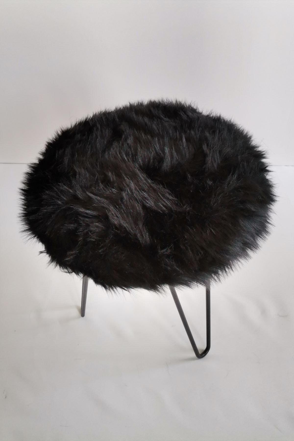 Tarzı Özel Siyah Peluş Puf 1