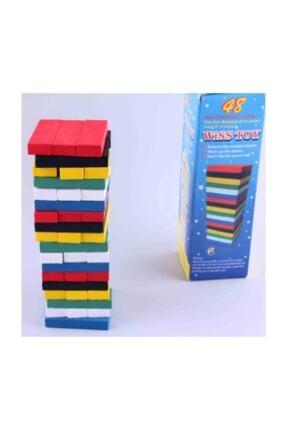 Keskin Hediyelik Mini Renkli Jenga Ahşap Puzzle Kulesi Yapı Denge Zeka Oyunu