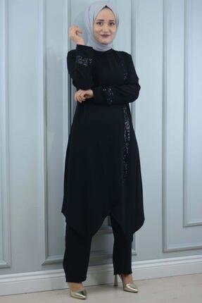 YSRSTORE Zara Pul Payet'li Önü Kapamalı Tunik Pantolon Takım
