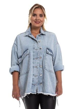 Loreen Kadın Açık Mavi Cepli Kar Yıkamalı Kot Ceket 30451